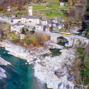 Ankunft in Lavertezzo im Verzascatal (TI)