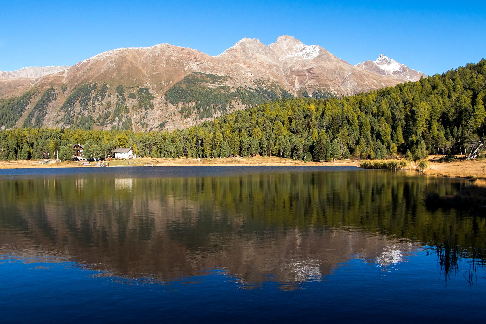Ein erhabener Anblick: Der Lej da Staz bei St. Moritz (GR) in der Abendsonne!