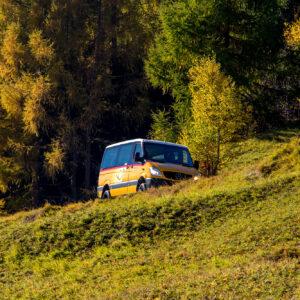 Talfahrt im Herbstwald