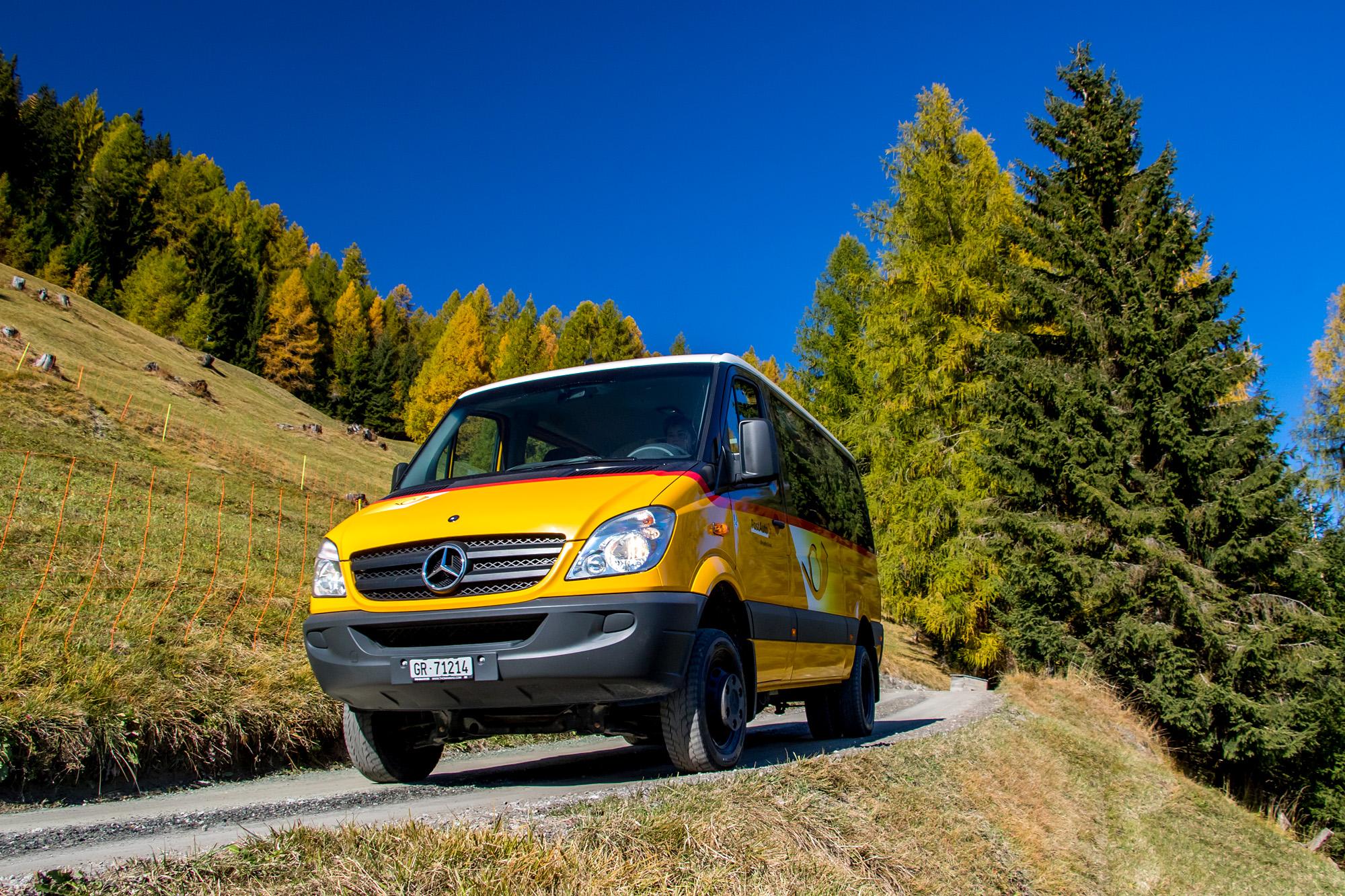 Talfahrt durch den Herbstwald von Obermutten (GR)