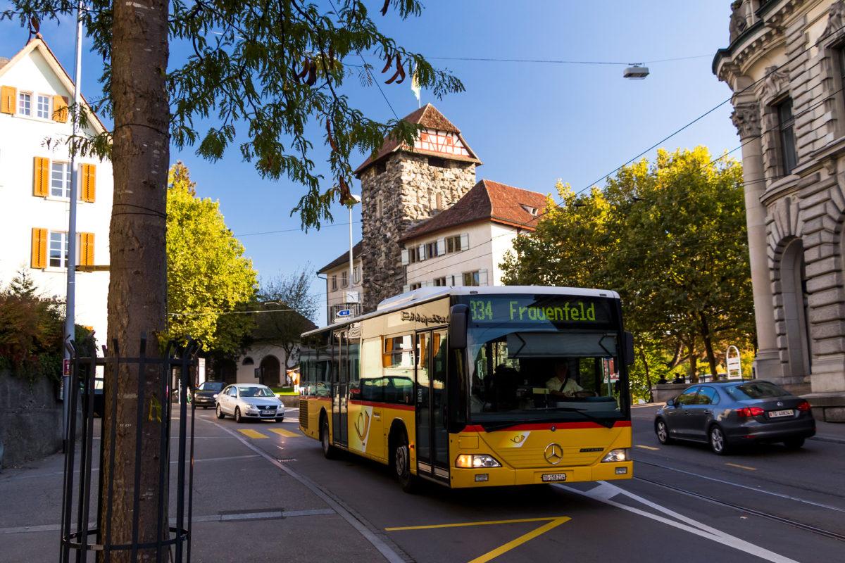 Das Frauenfelder Schloss liegt direkt an der Einfallsachse zum Bahnhof und grüsst daher bei der Einfahrt in Frauenfeld. Praktisch!
