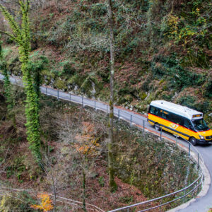 Wenn die Strasse im Muggio-Tal (TI) gerade nicht enge Dorfkerne durchquert, führt sie meist durch den dichten Kastanienwald